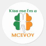 Los irlandeses personalizados me besan que soy pegatinas redondas