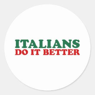 Los italianos mejora pegatina redonda