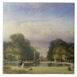 Los jardines de Tuileries, con el Arco del Triunfo Azulejo Cuadrado Grande