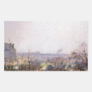Los jardines de Tuileries de Camille Pissarro Pegatina Rectangular