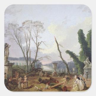Los jardines de Versalles Pegatina Cuadrada