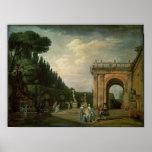 Los jardines del chalet Ludovisi, Roma, 1749 Póster