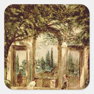 Los jardines del chalet Medici en Roma Pegatina Cuadrada
