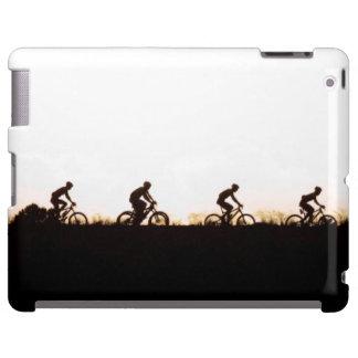Los jinetes de la bici de montaña hacen su manera funda para iPad