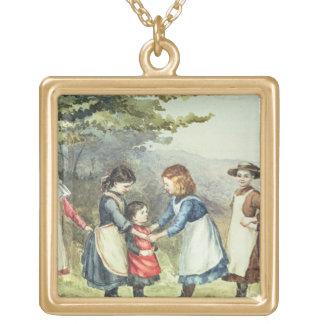 Los juegos de los niños, c.1880 (w/c en el papel) collar dorado