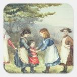 Los juegos de los niños, c.1880 (w/c en el papel) pegatina cuadrada