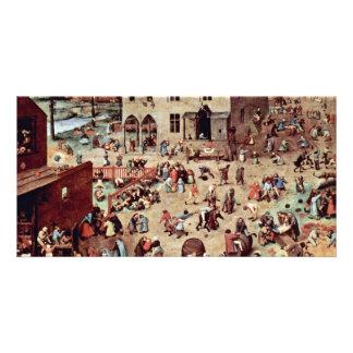 Los juegos de los niños por Bruegel D. Ä. Pieter Tarjeta Fotográfica Personalizada