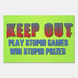 Los juegos estúpidos del juego, ganan premios letrero