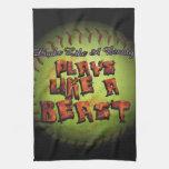 Los juegos tienen gusto de un softball de Fastpitc Toallas De Cocina