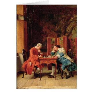 Los jugadores de ajedrez, 1856 tarjeta de felicitación