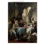 Los jugadores de ajedrez, 1887 2 tarjeta de felicitación