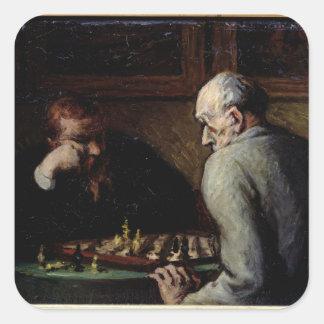 Los jugadores de ajedrez, c.1863-67 pegatina cuadrada