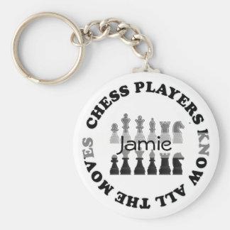 Los jugadores de ajedrez divertidos saben todo el llavero redondo tipo pin