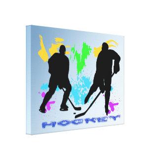 Los jugadores de hockey envolvieron impresiones de impresion de lienzo