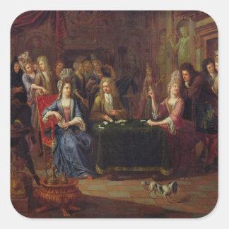 Los jugadores de tarjeta, 1699 pegatina cuadrada