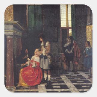 Los jugadores de tarjeta, c.1663-65 pegatina cuadrada