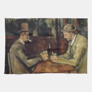 Los jugadores de tarjeta de Paul Cézanne 1895 Toallas De Cocina