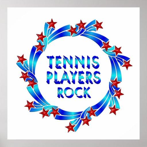 Los jugadores de tenis oscilan las estrellas rojas impresiones