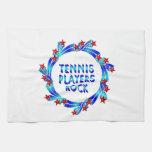 Los jugadores de tenis oscilan las estrellas rojas toalla de cocina