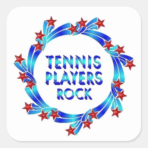 Los jugadores de tenis oscilan las estrellas rojas calcomania cuadrada personalizada