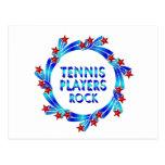 Los jugadores de tenis oscilan las estrellas rojas tarjeta postal