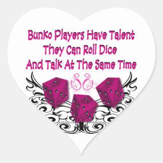 Los jugadores del Bunko tienen talento Pegatina En Forma De Corazón