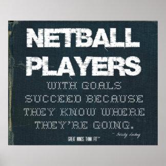 Los jugadores del Netball con metas tienen éxito e Póster