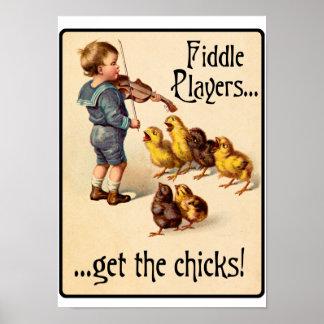Los jugadores del violín consiguen a polluelos mús póster