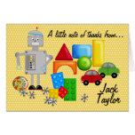 Los juguetes Notecards de un muchacho Tarjeta Pequeña