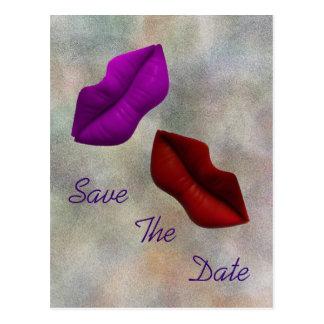 Los labios ahorran la ceremonia del compromiso de tarjetas postales