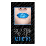 Los labios azules del estampado de zebra negro com tarjeta de visita