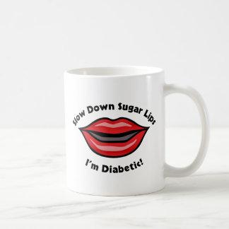 Los labios del azúcar del retraso, soy diabético taza de café