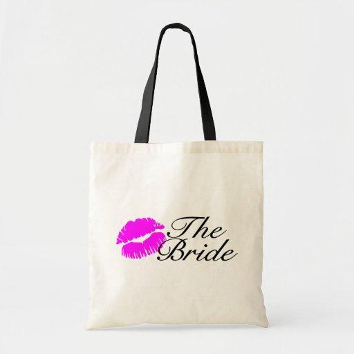 Los labios del rosa de la novia bolsas