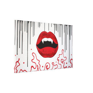 Los labios del vampiro envolvieron la lona lienzo envuelto para galerias