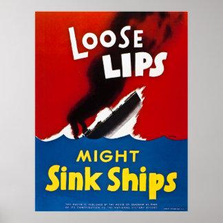 Los labios flojos pudieron hundir las naves - vint póster