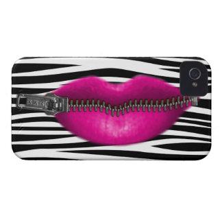 los labios relampagados en cebra rayan el modelo iPhone 4 cárcasas