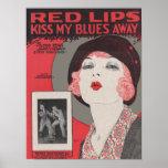 Los labios rojos besan mis azules lejos poster