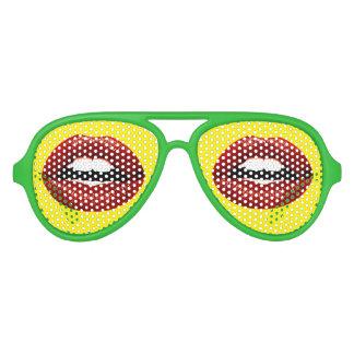 Los labios rojos divertidos van de fiesta el fram gafas de fiesta