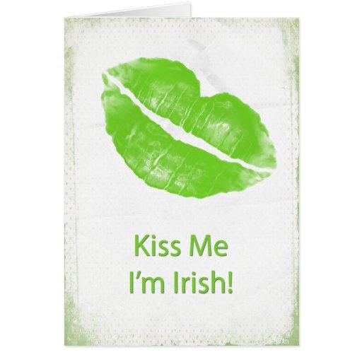Los labios verdes - béseme que soy irlandés tarjeta de felicitación