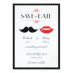 Los labios y el boda del bigote ahorran la fecha invitacion personal