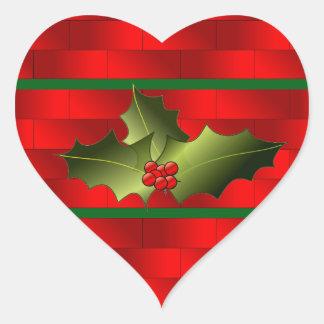 Los ladrillos de Santa y pegatinas del muérdago Pegatina En Forma De Corazón