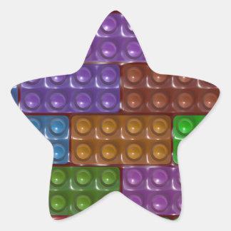 Los ladrillos del constructor - arco iris pegatina forma de estrella personalizada