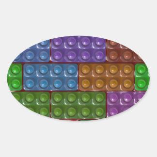 Los ladrillos del constructor - arco iris pegatinas óval personalizadas