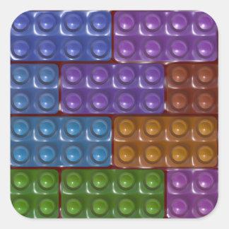 Los ladrillos del constructor - arco iris calcomanía cuadradas personalizadas