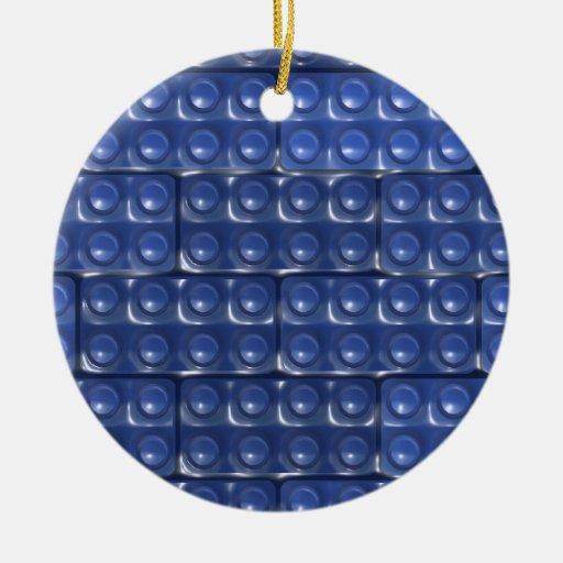 Los ladrillos del constructor - azul adorno navideño redondo de cerámica