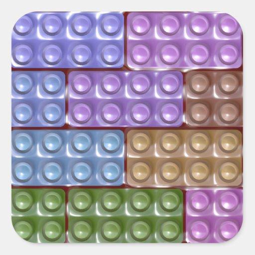 Los ladrillos del constructor - pastel pegatinas cuadradas personalizadas
