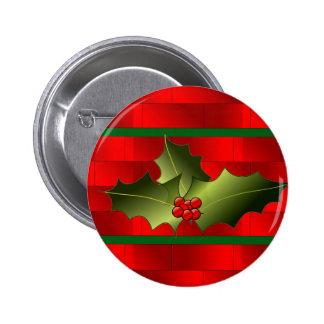 Los ladrillos y el muérdago de Santa en el botón Pin Redondo De 2 Pulgadas