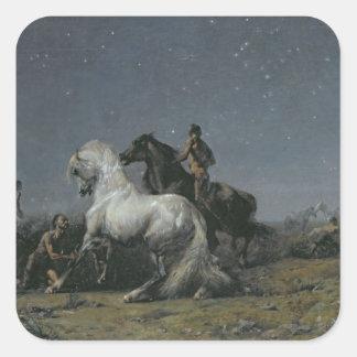 Los ladrones del caballo, siglo XIX Pegatina Cuadrada
