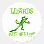 Los lagartos me hacen feliz pegatina redonda