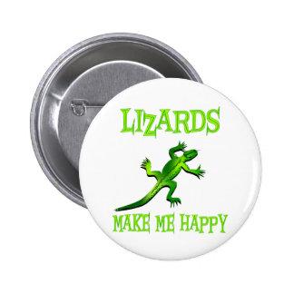 Los lagartos me hacen feliz pin redondo de 2 pulgadas